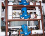 Pumps mounted on rack